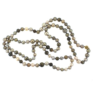 A Tahitian Pearl and Diamond Bead Necklace