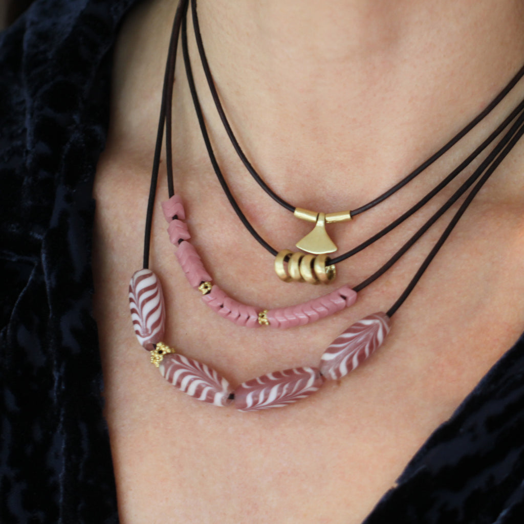 Pink Chevron Beaded Necklace