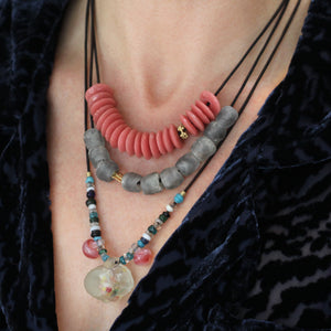 A Pink Recycled Glass Bead Necklace