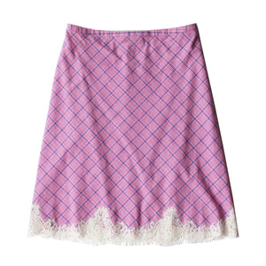 Kali Half Slip in Italian Cotton Pink Plaid with Lace