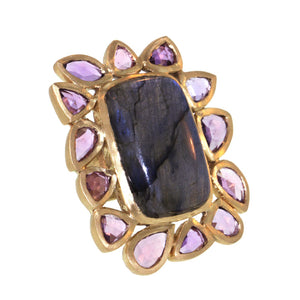 The Labradorite and Sapphire Frame Ring