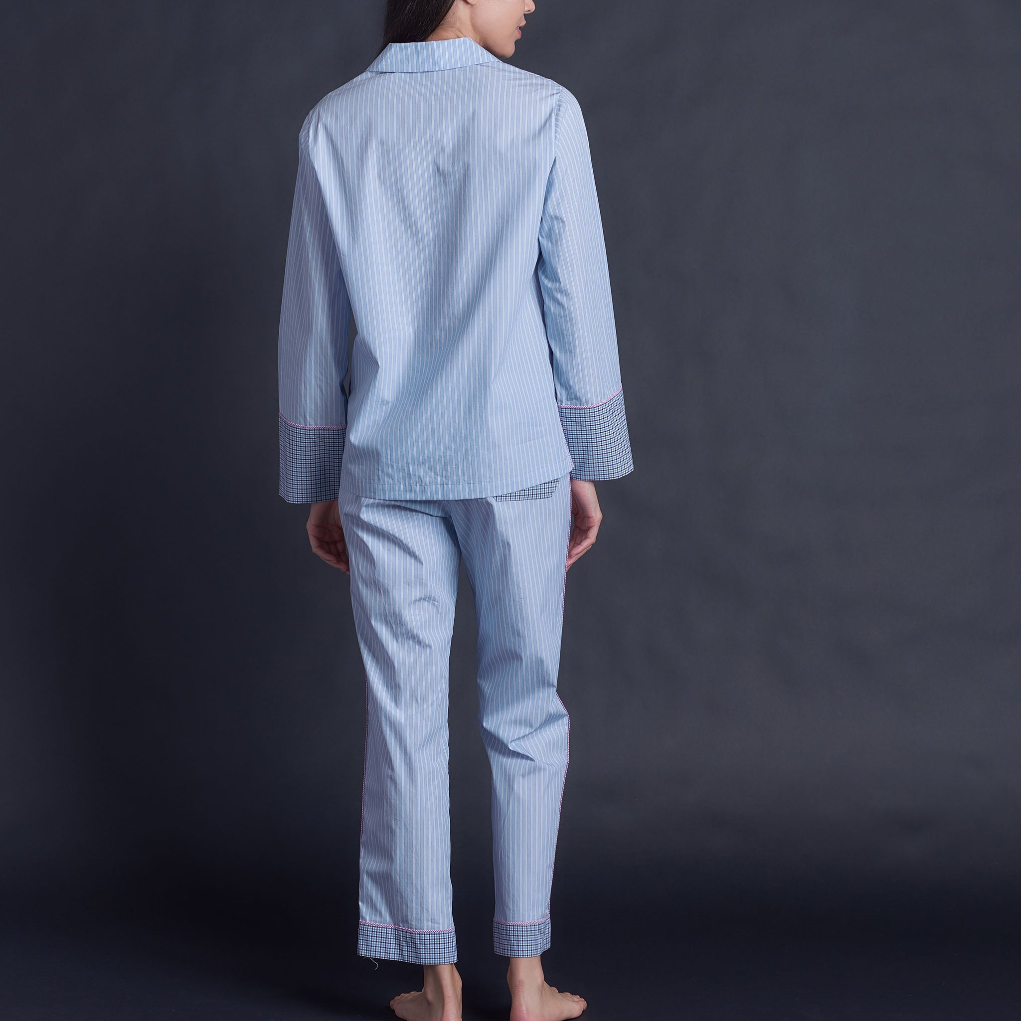 Annabel Pajama Top in Blue Italian Cotton