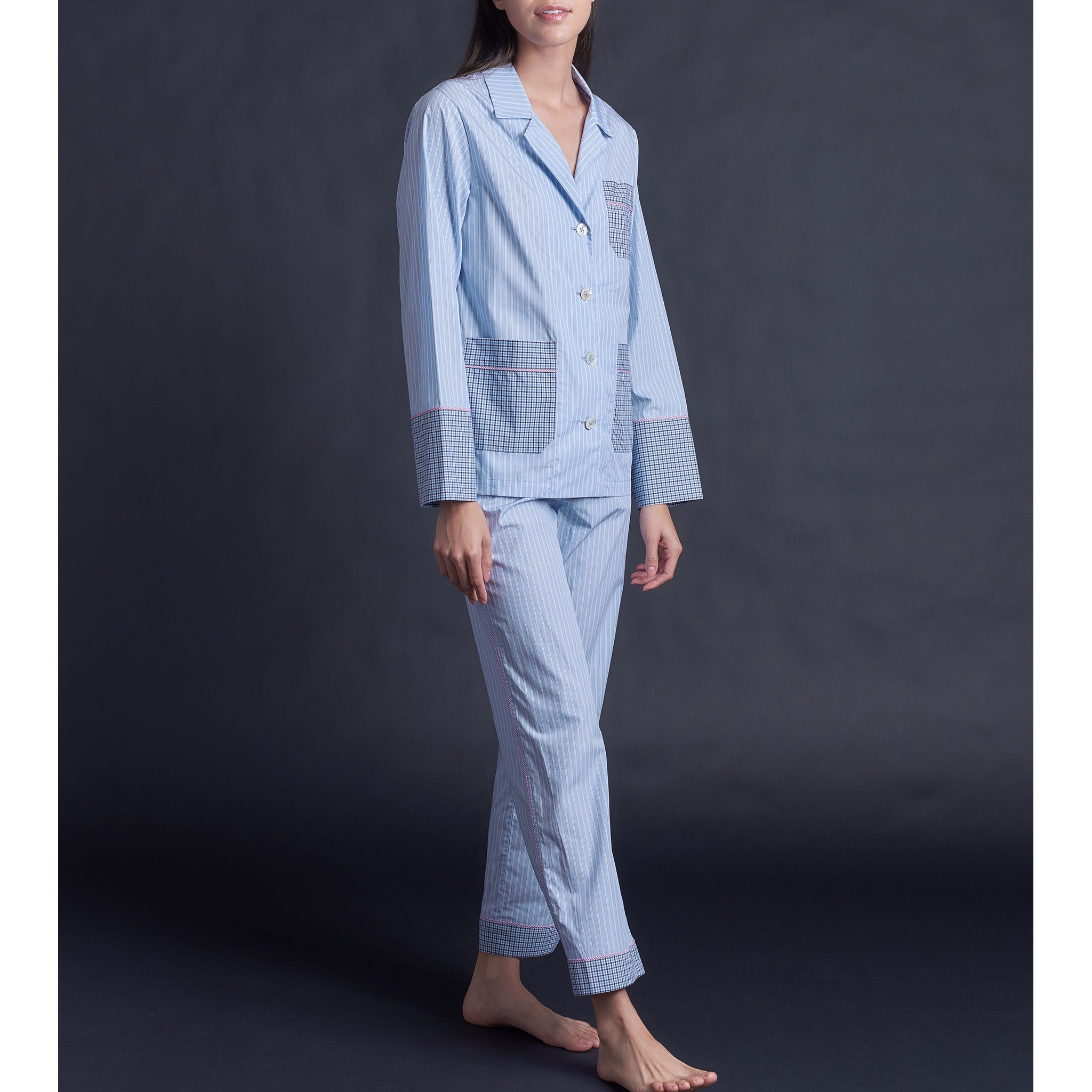 Serena Pajama Pant in Blue Italian Cotton