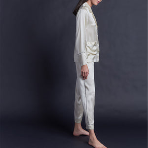 Serena Pajama Top in Pearl Silk Charmeuse
