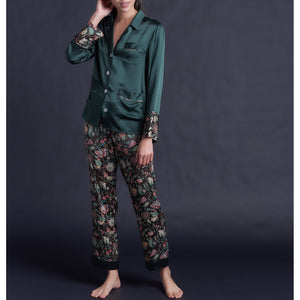 Annabel Pajama Top in Forest Silk Charmeuse