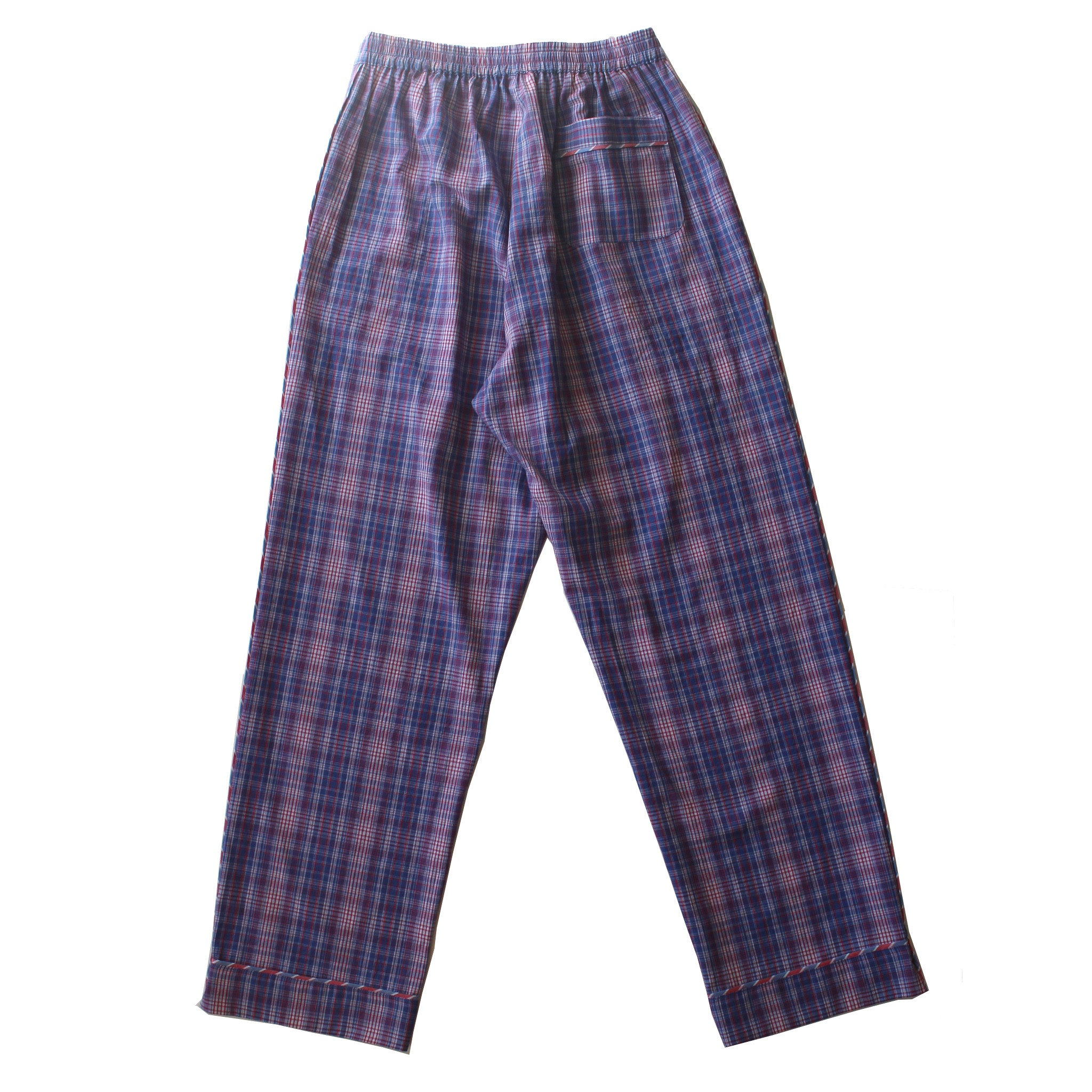 Saturn Pajama Pant in Blue Plaid Italian Cotton