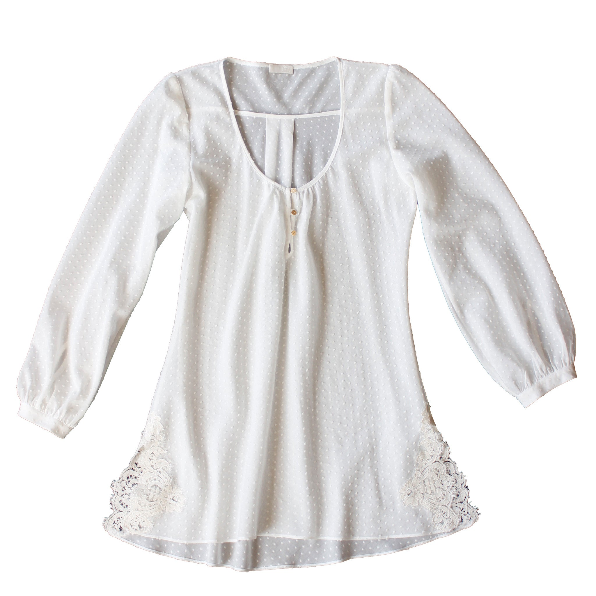 Ostara Sleep Shirt in Swiss Cotton Plumetis