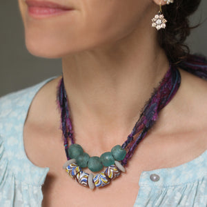 A Multi-colored Bead with Liberty Violet Daydream Silk Chiffon Tie Necklace