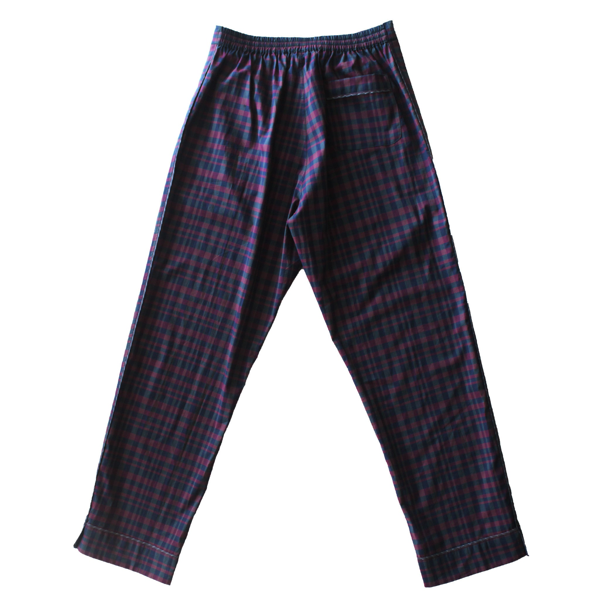 Saturn Pajama Pant in Burgundy and Blue Check Italian Cotton