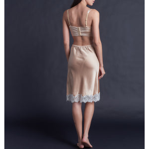 Kali Half Slip in Rose Gold Silk Charmeuse with Ivory Lace
