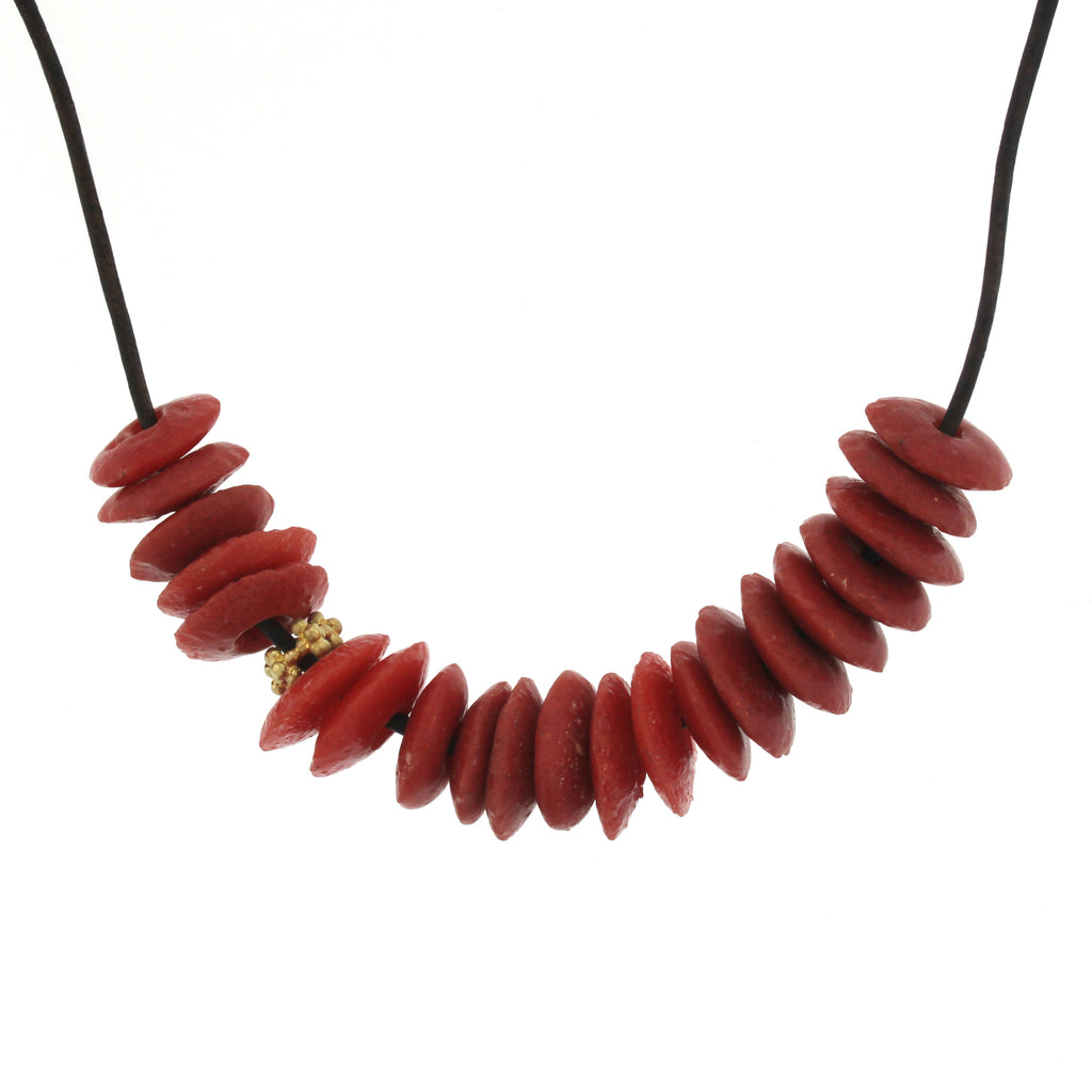 The African Recycled Glass Coral Bead Necklace