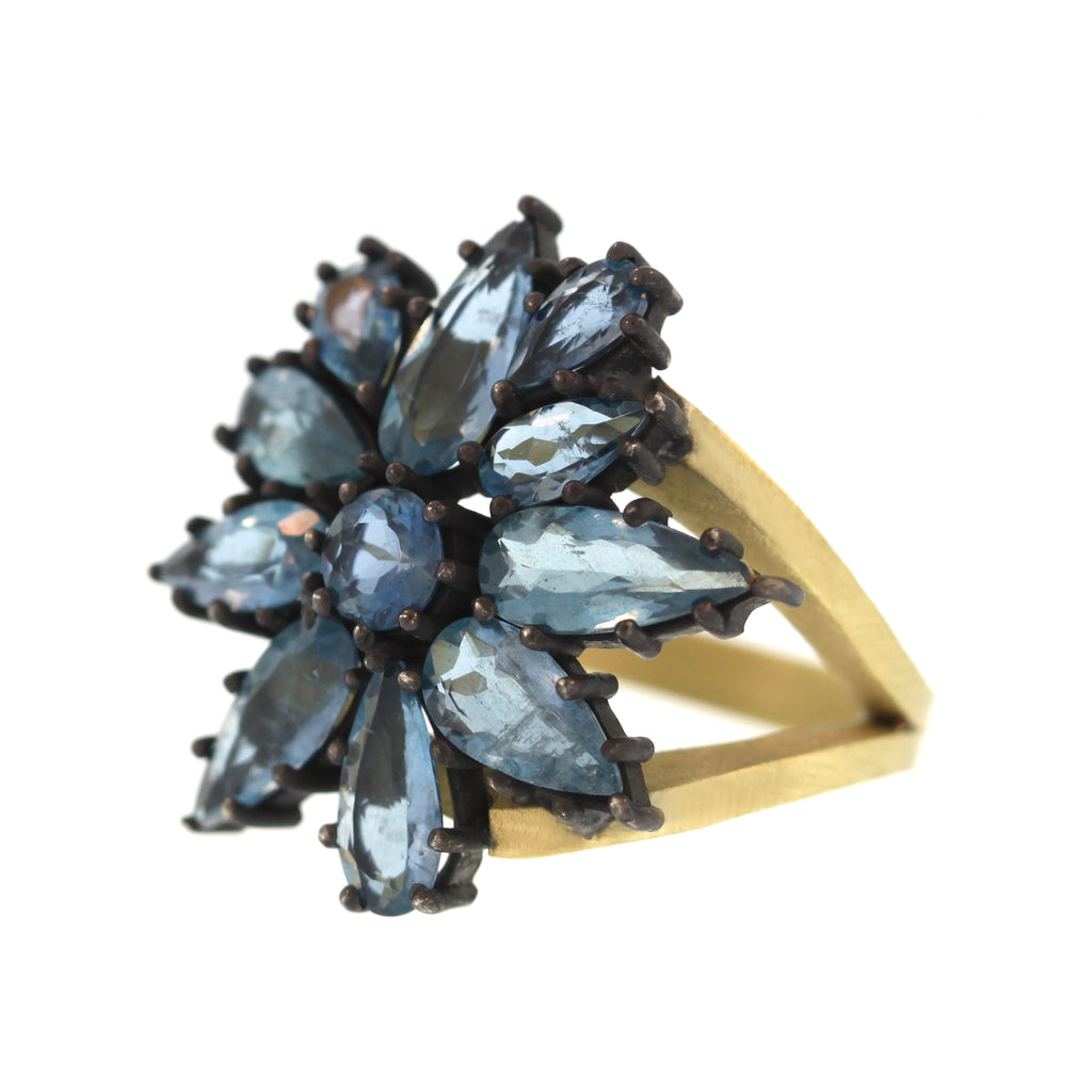 The Aquamarine Flower Cluster Ring