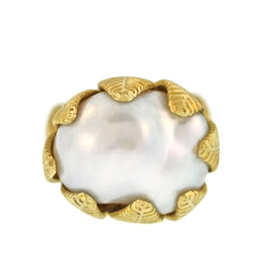 The Baroque Pearl Lotus Leaf Ring