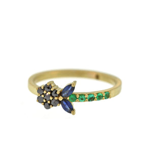 The Black Diamond, Emerald, + Sapphire Flower Ring