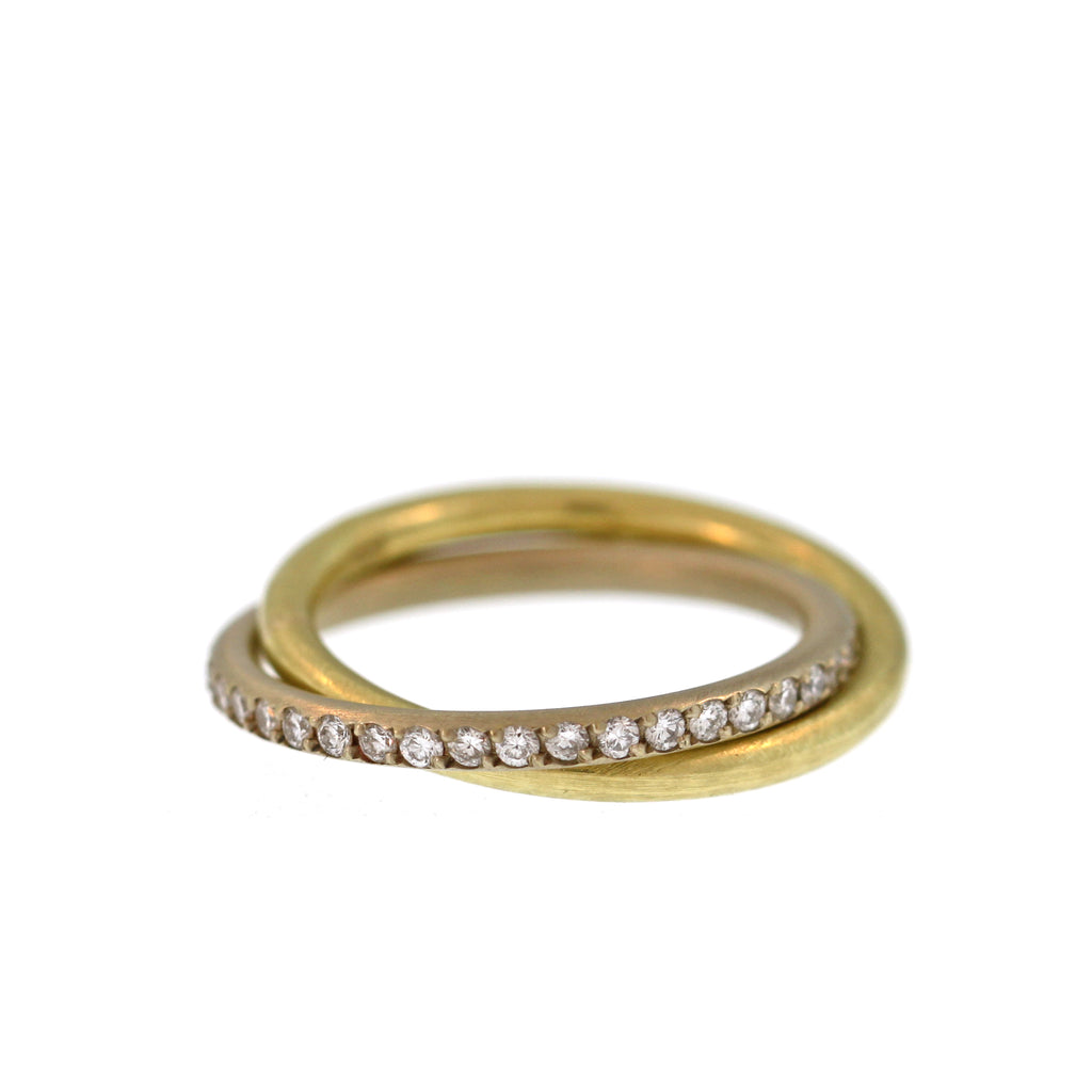 Entwined Gold and Diamond Pavé Band