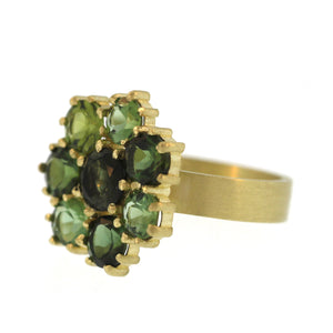 A Green Tourmaline Flower Ring
