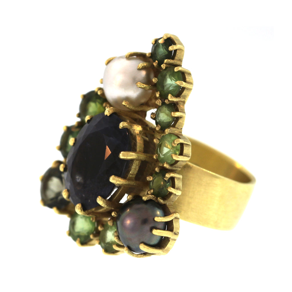 The Green and Blue Tourmaline and Pearl Cluster Ring