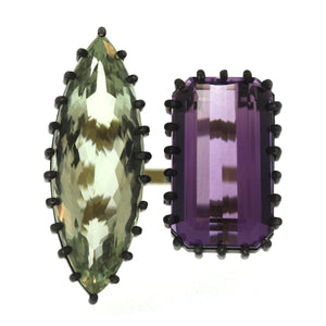 The Amethyst & Green Quartz Ring