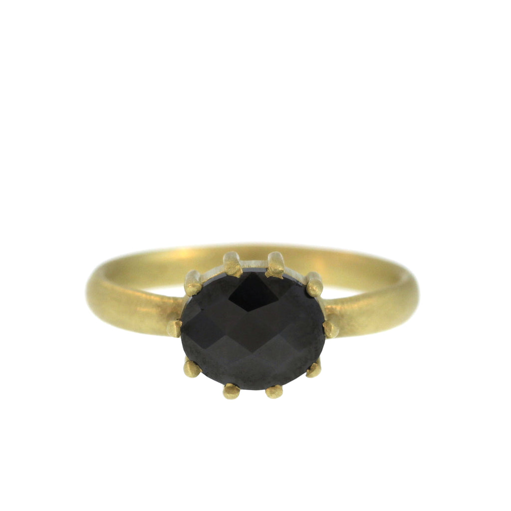 The Oval Black Diamond Slice Ring