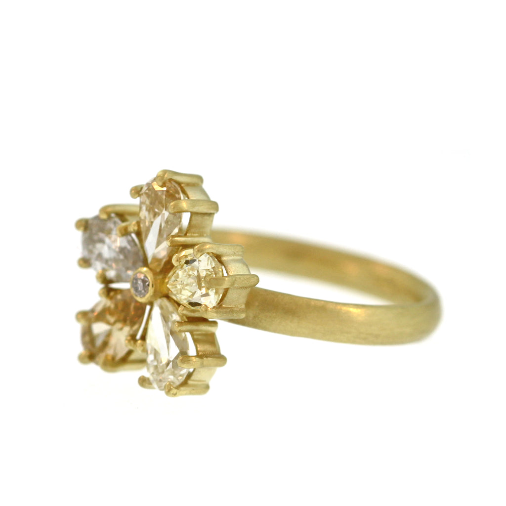 The Pear-Shaped Diamond Flower Ring