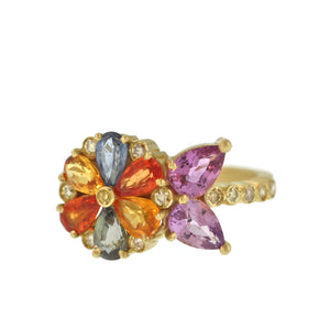 The Multicolored Sapphire + Diamond Flower Ring