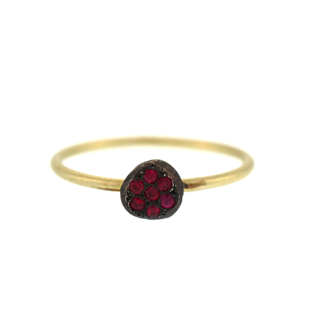 The Mini Silver Pavé Ruby Disc Ring