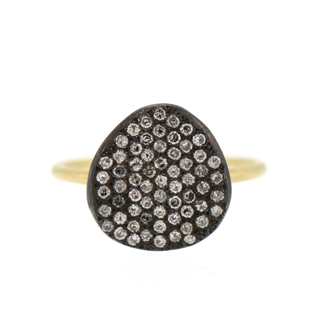 The Silver Pavé Diamond Disc Ring