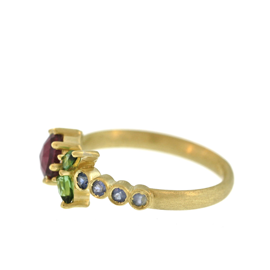 The Tourmaline + Sapphire Flower Ring