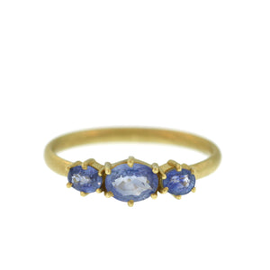 The Triple Sky Blue Sapphire Ring