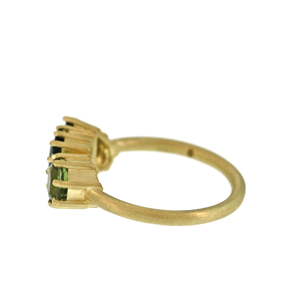 The Petite Triple Green Tourmaline Ring