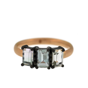 The Triple Icy Blue Tourmaline Ring