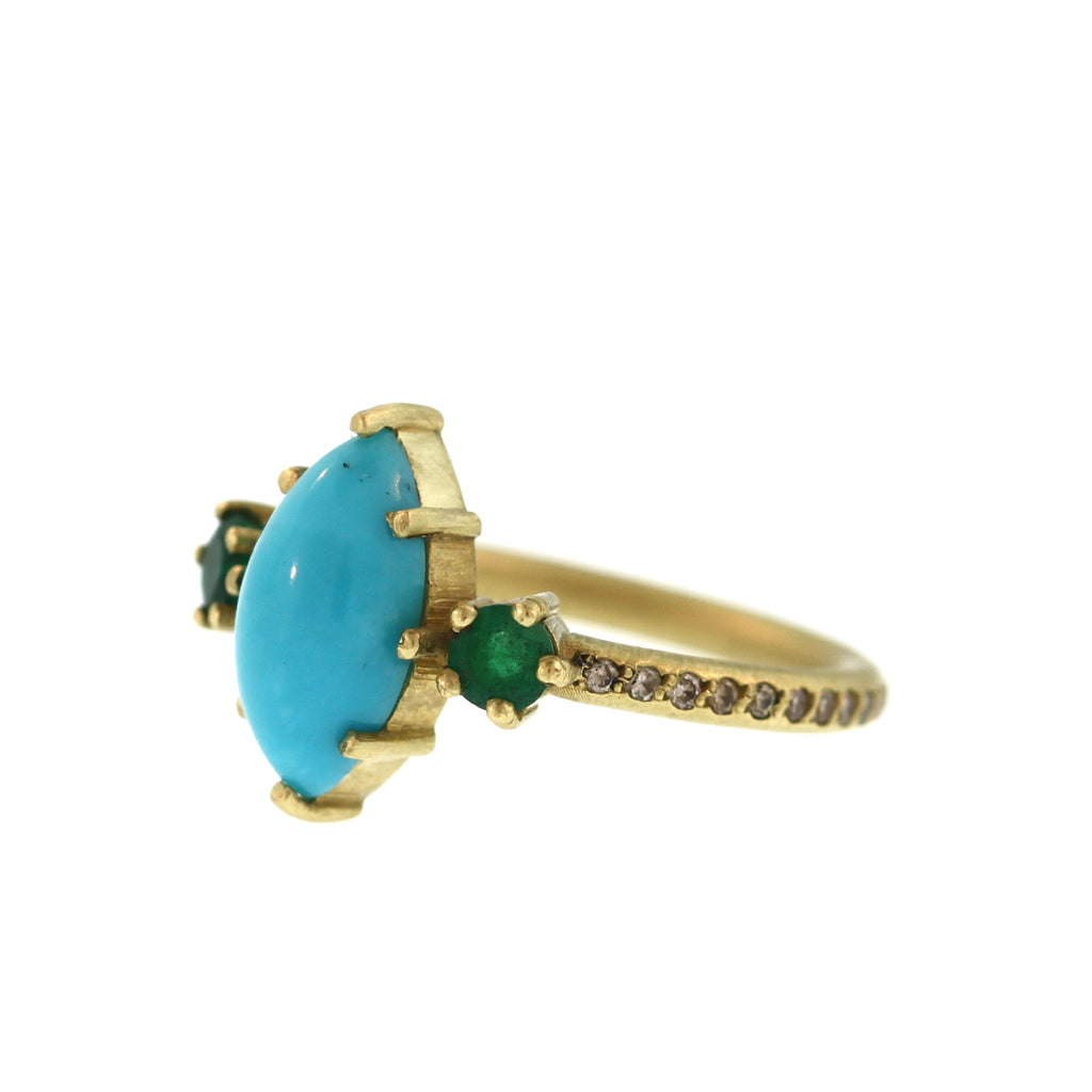 A Marquise Turquoise + Emerald Ring