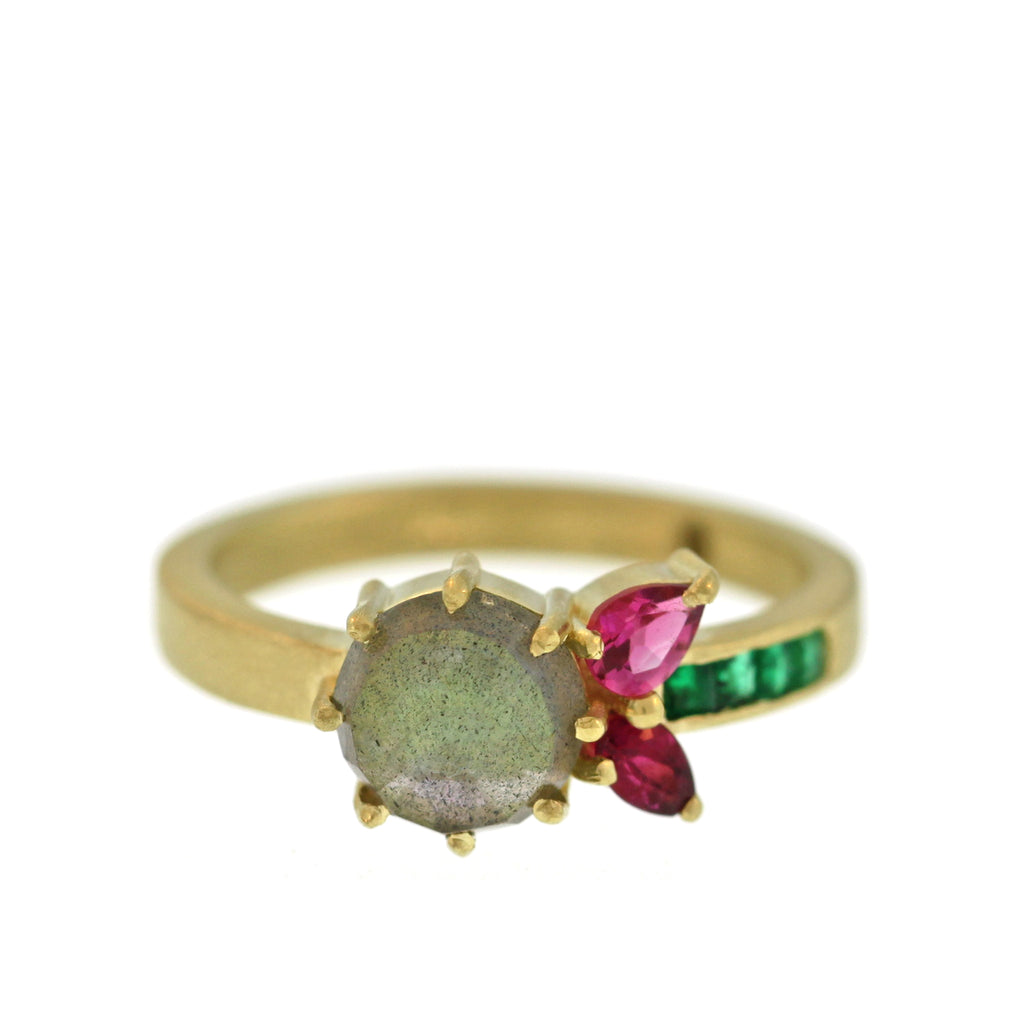 The Labradorite + Tourmaline + Emerald Flower Ring