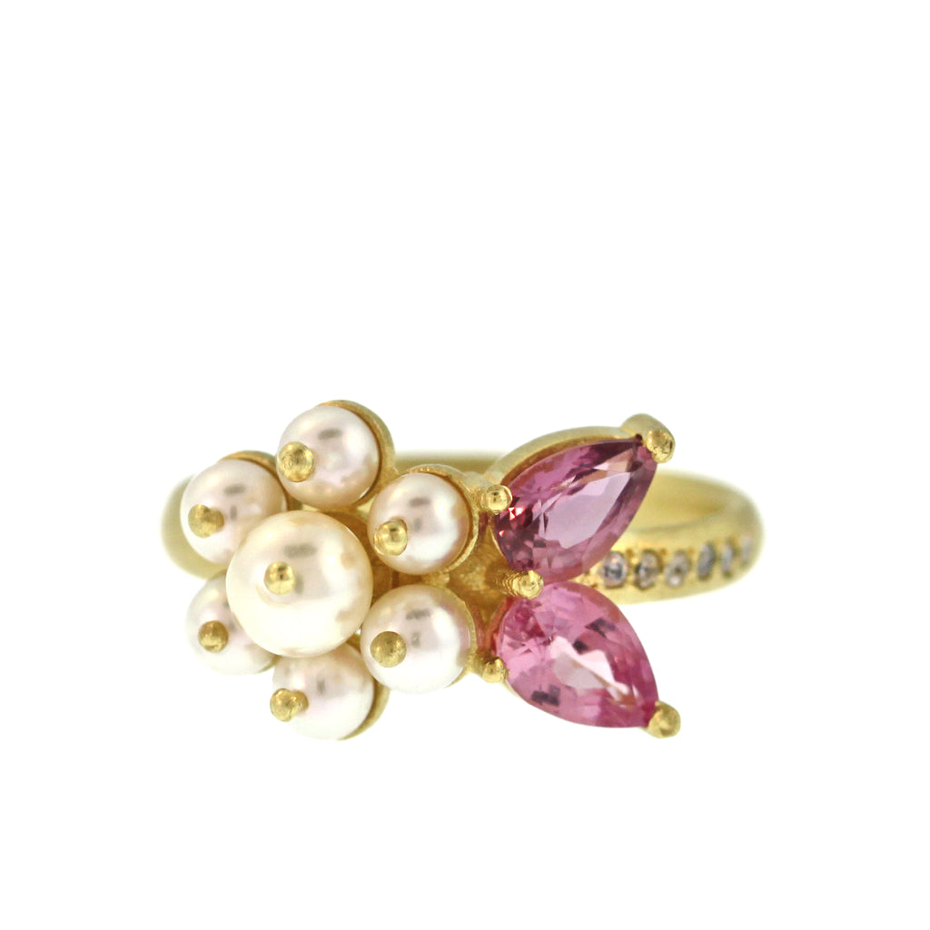 The Pearl + Pink Sapphire + Diamond Flower Ring