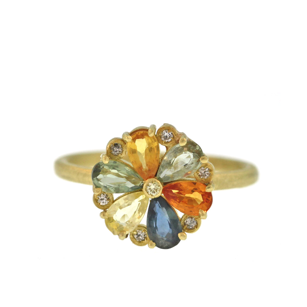A Multicolored Sapphire + Diamond Pinwheel Ring