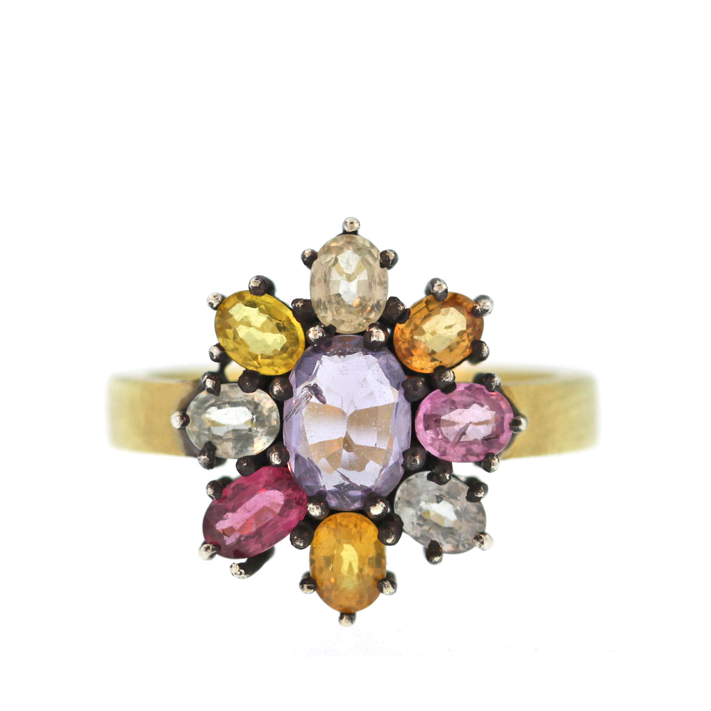 The Multicolored Sapphire Flower Ring