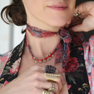 Venetian Glass Beads with Liberty Rose Print Silk Chiffon Tie Necklace
