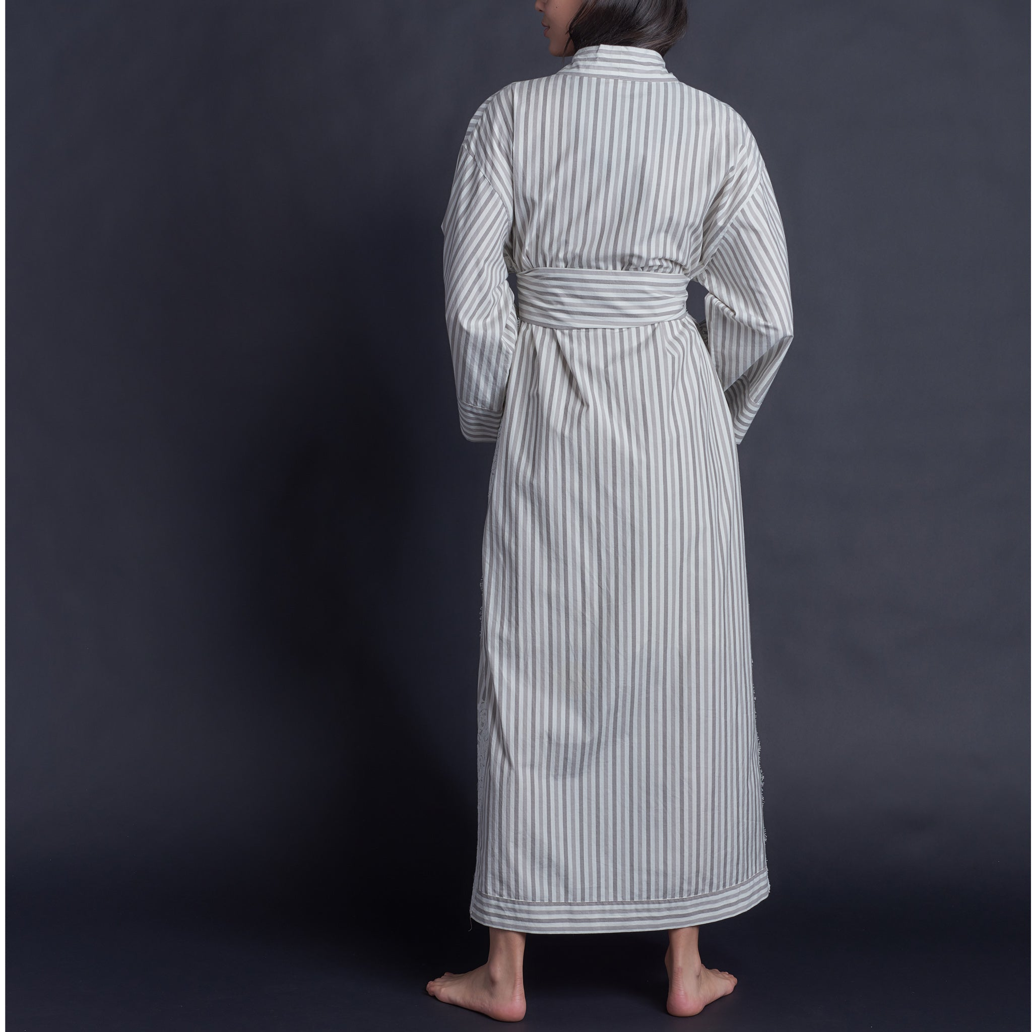 Asteria Kimono Robe in Italian Cotton Sand Stripe with Lace
