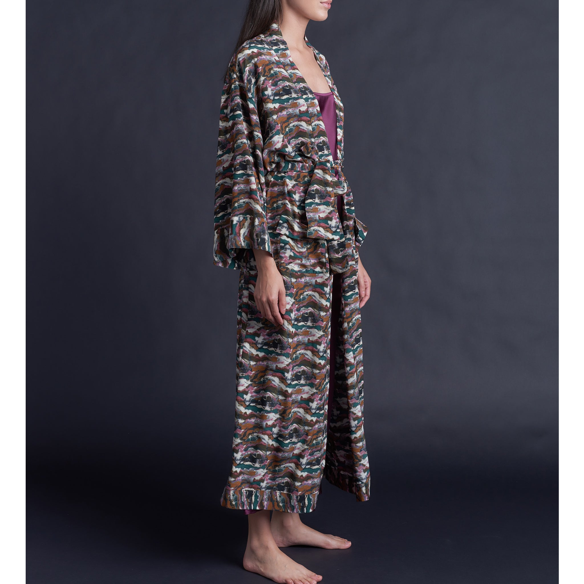 Asteria Kimono Robe in Liberty of London Sandstorm Silk Crepe De Chine