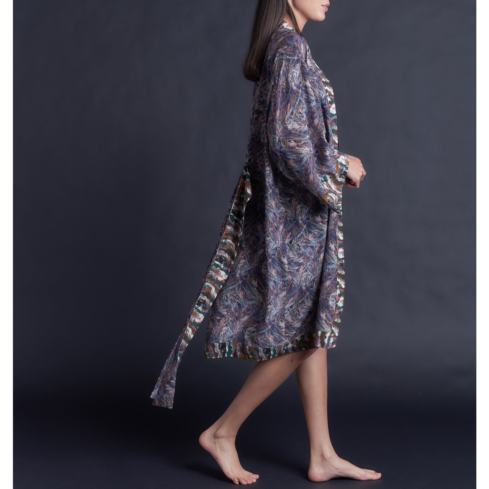 One of Kind Selene Dressing Gown in Print Block Saxby Liberty Silk Crepe De Chine