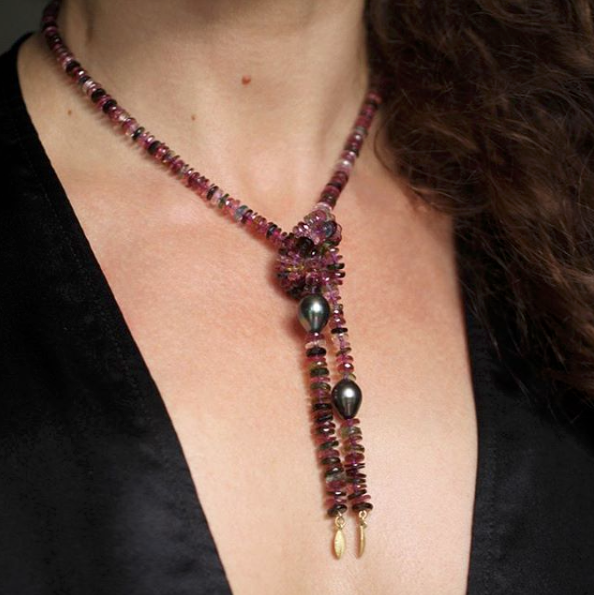 The Tourmaline, Pearl and Lotus Leaf Lariat Necklace