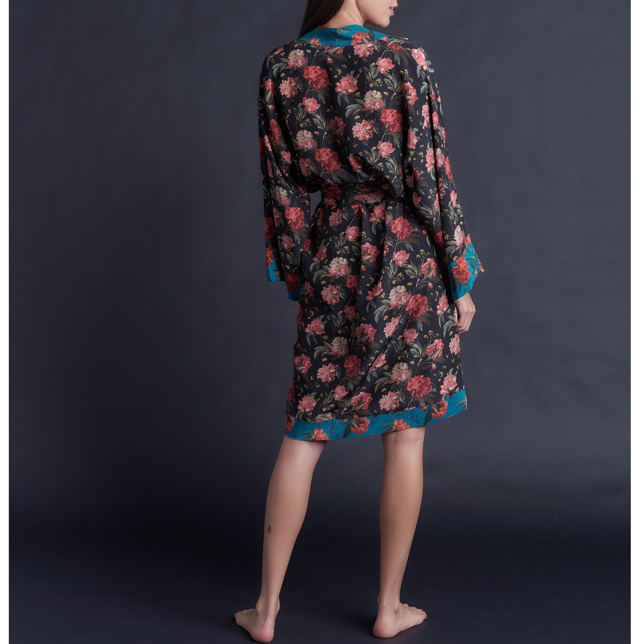 Selene Dressing Gown in Print Block Decadent Blooms Liberty Silk Crepe De Chine