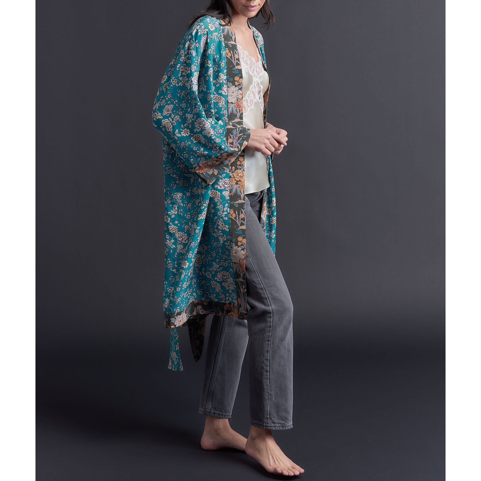 Selene Dressing Gown in Aqua Ceremony Liberty Silk Crepe De Chine