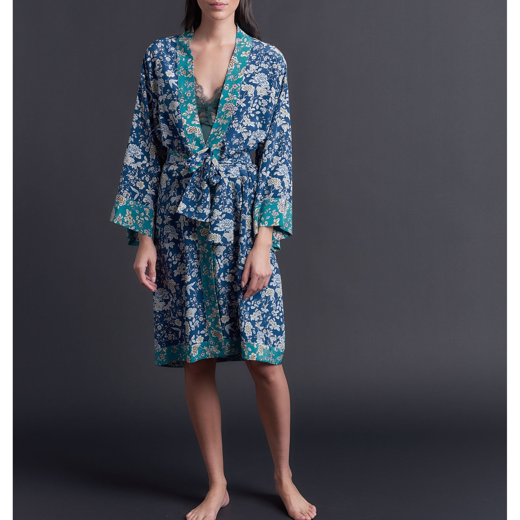 Selene Dressing Gown in Print Block Ceremony Liberty Silk Crepe De Chine