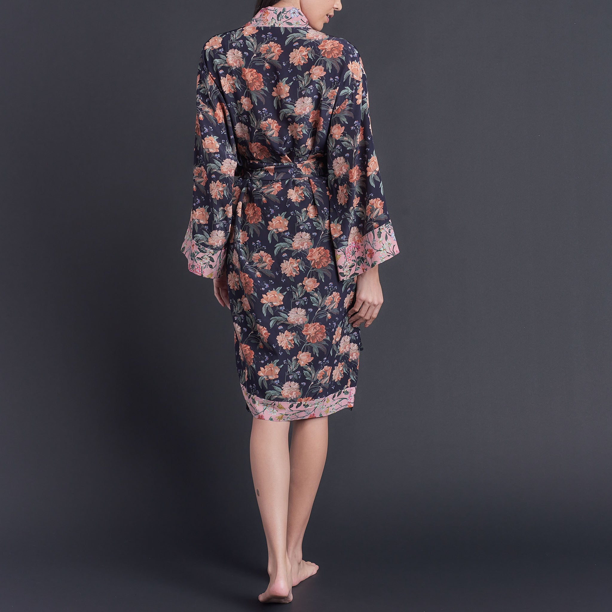 One of a Kind Selene Dressing Gown in Decadent Dreams Liberty Print Silk Crepe De Chine