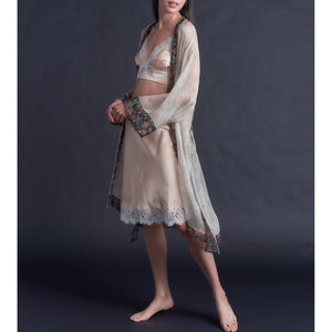 Knee Length Robe in Print Block Dulwich Park  Liberty Silk Crinkle Chiffon