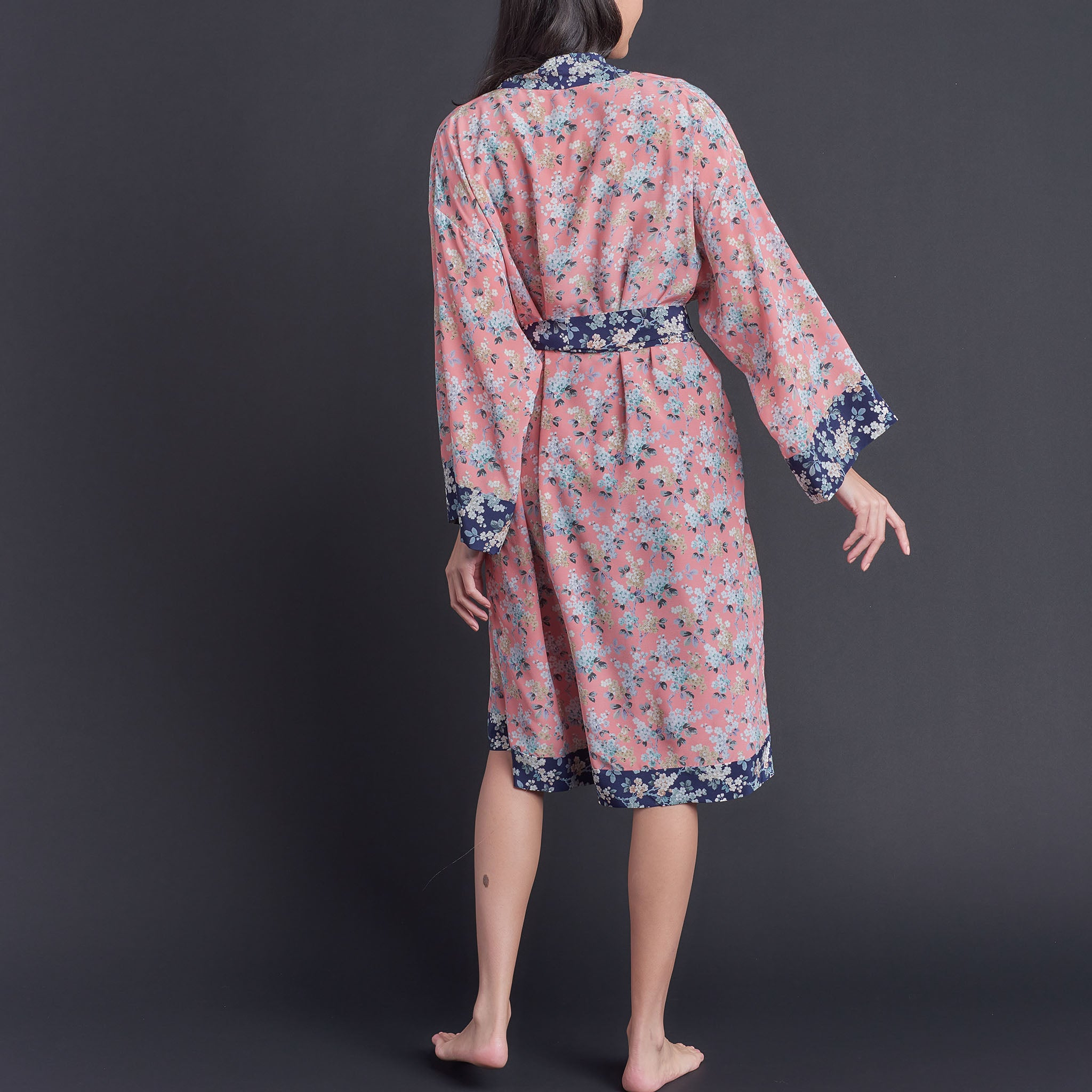 One of Kind Selene Dressing Gown in Pink Josephine Liberty Print Silk Crepe De Chine