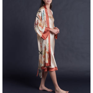 Hand Painted Silk Charmeuse Selene Robe