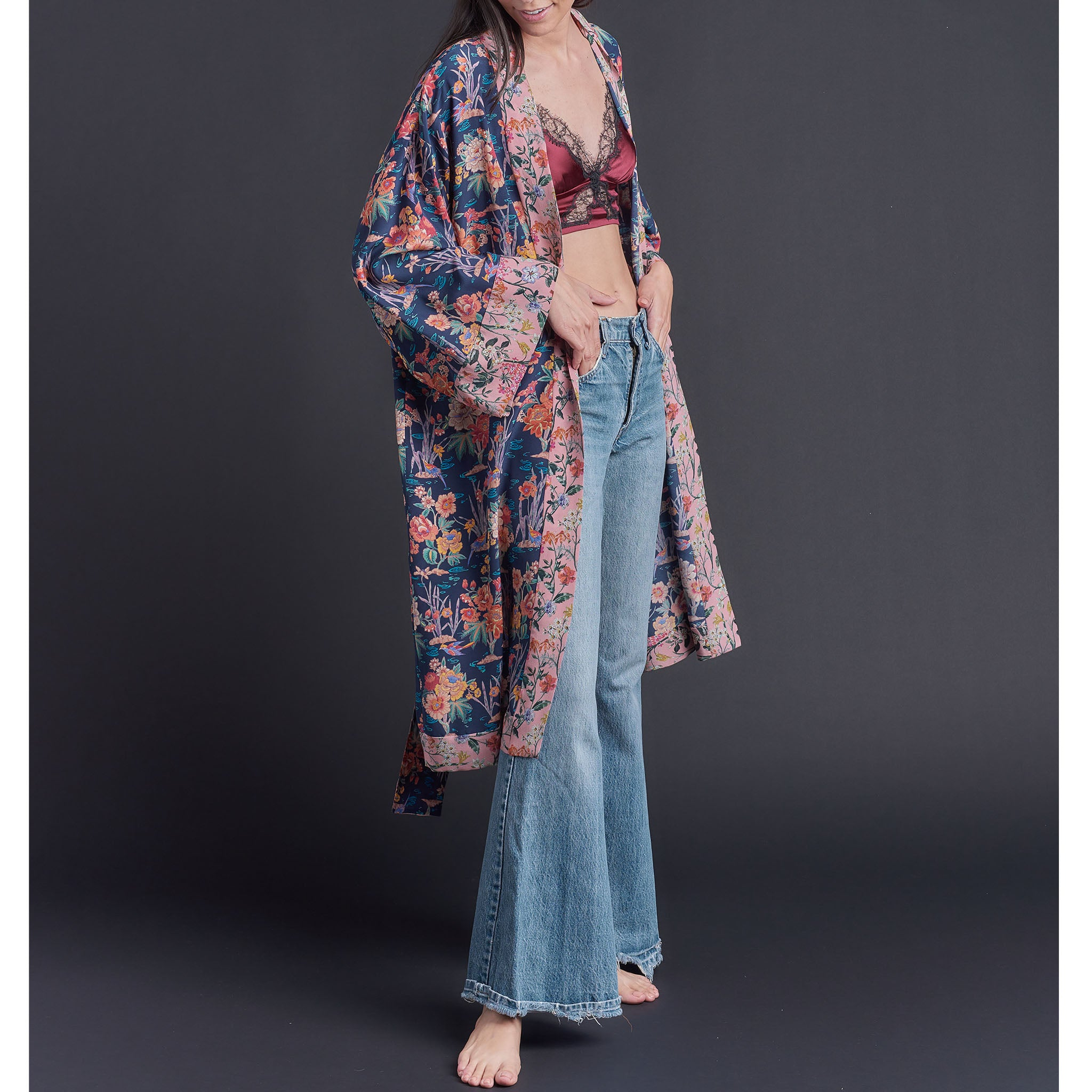 One of a Kind Selene Dressing Gown in Blue Lake Ada  Liberty Silk Crepe De Chine
