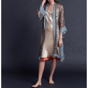 Knee Length Robe in Print Block Persimmon  Liberty Silk Crinkle Chiffon